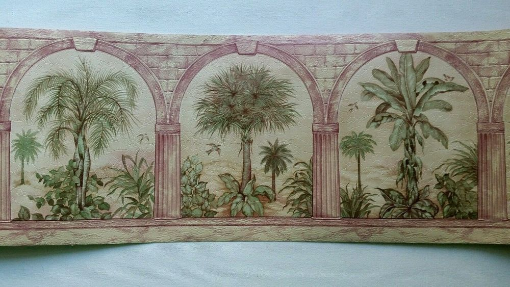3 Rolls Of Palm Tree In Arches Wallpaper Border 29 577 Sumatra Vymura Lot A1 Vymura Wallpaper Wallpaper Border Birds Flying