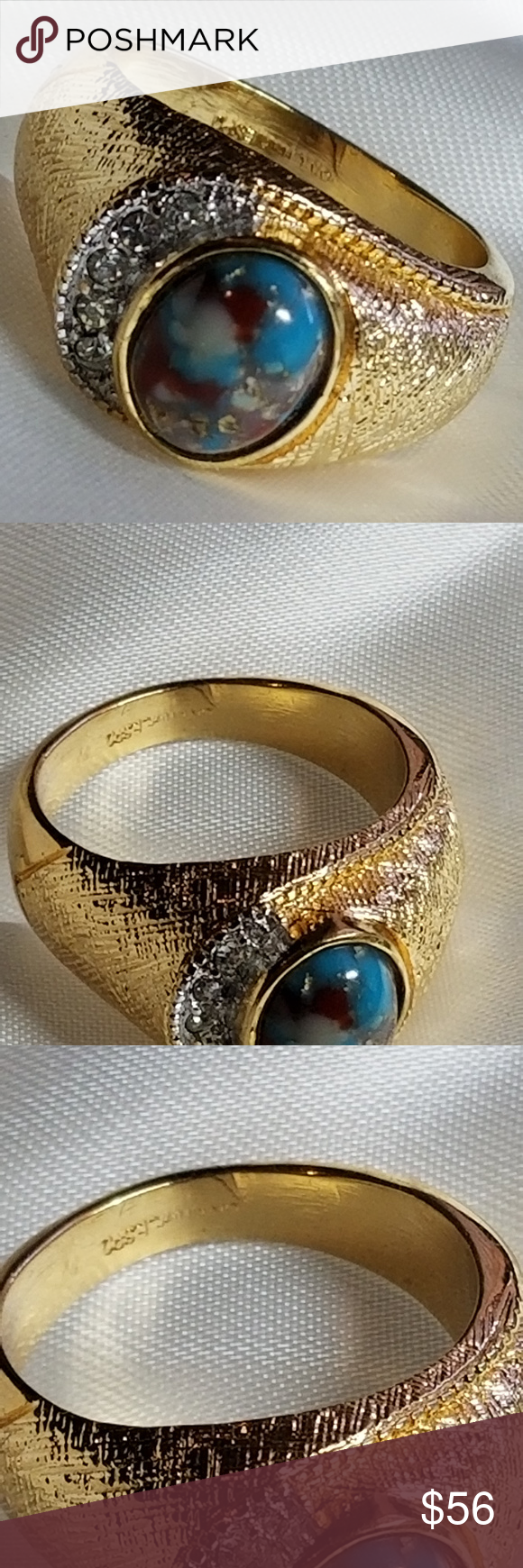 Men Ring Turquoise Veined With Gold Ring Cz Men Ring Turquoise Veined With Gold Ring Cz Diamond Brilliant 18kt Hge Esp Gold Rings Rings For Men Turquoise Rings