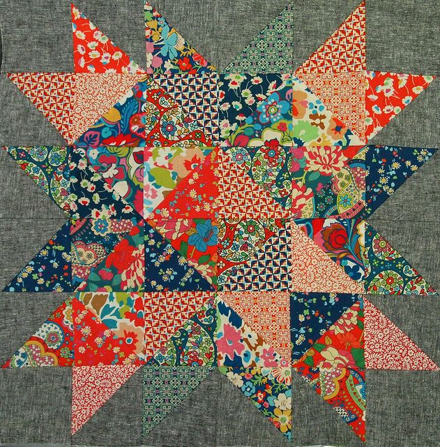 constellation quilt block (with Liberty of London) by ImAGingerMonkey, via Flickr