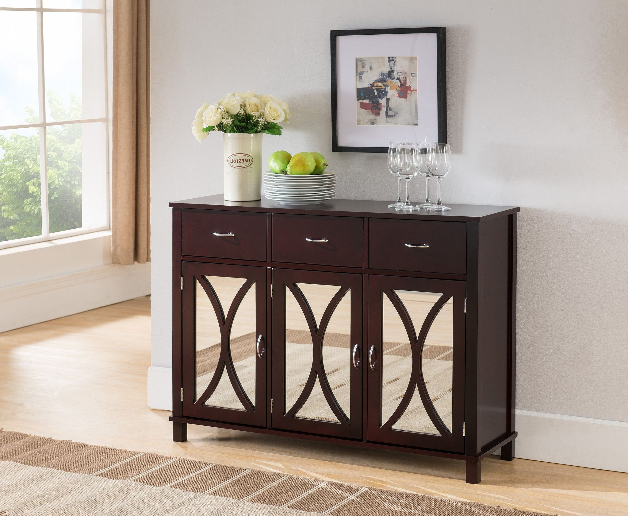 Espresso mirrored wood buffet server cabinet console entryway espresso mirrored wood buffet server cabinet console entryway table with drawers storage geotapseo Choice Image