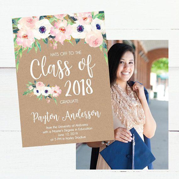kraft floral graduation announcements floral  class of