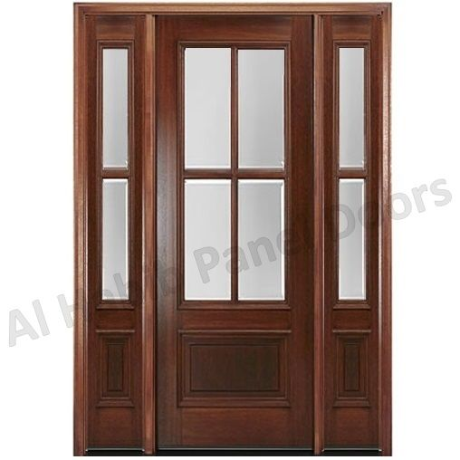 Wooden Door With Glass And Glass Sides Hpd482 Glass Panel Doors Al Habib Panel Doors Wood Doors Interior Wood Front Entry Doors French Doors Interior
