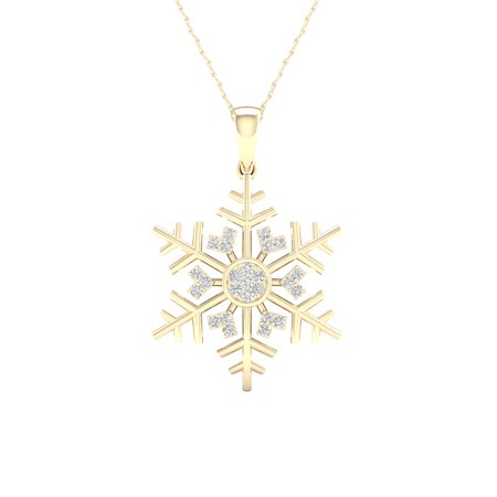 Igi Certified Imperial 1 10ct Tdw Diamond 10k Yellow Gold Snowflake Pendant Necklace H I I2 Women S Metal Type Snowflake Pendant Gold Snowflake Pendant