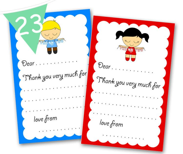 Printable Thank you cards for kids to fill out after Christmas! Boy