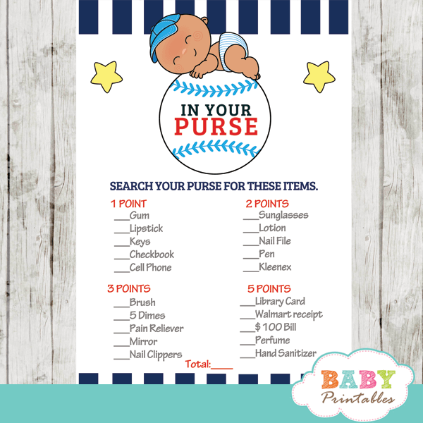 Blue And White Baseball Baby Shower Games To Celebrate The Arrival Of A New  Little Slugger. These Baseball Baby Shower Games Feature A Cute Baby  Wearing A C