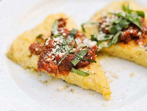 Grilled Polenta with Marinara, Parmesan, and Basil - use vegetable broth