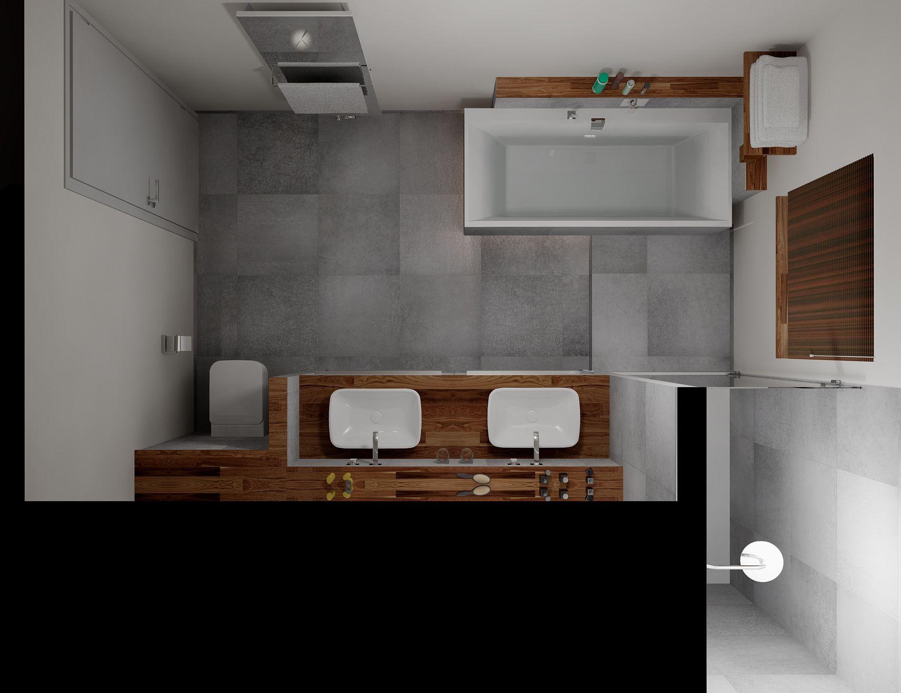 ruime badkamer waarbij het ligbad enigszins los lijkt te staan van