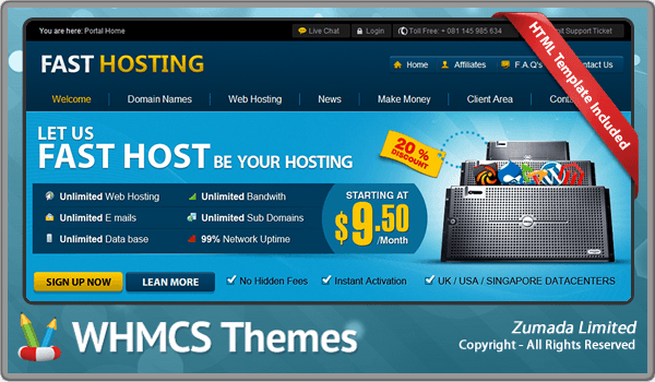 FAST HOSTING VERSION 5.0 WHMCS 5.X TEMPLATE DOWNLOAD Free WHMCS ...