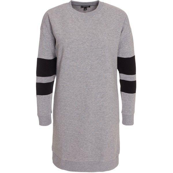 Sporty Sweatshirt Dress ❤ liked on Polyvore featuring dresses, sweatshirt dress, light gray dress, sporty dresses, topshop dresses and light grey dress