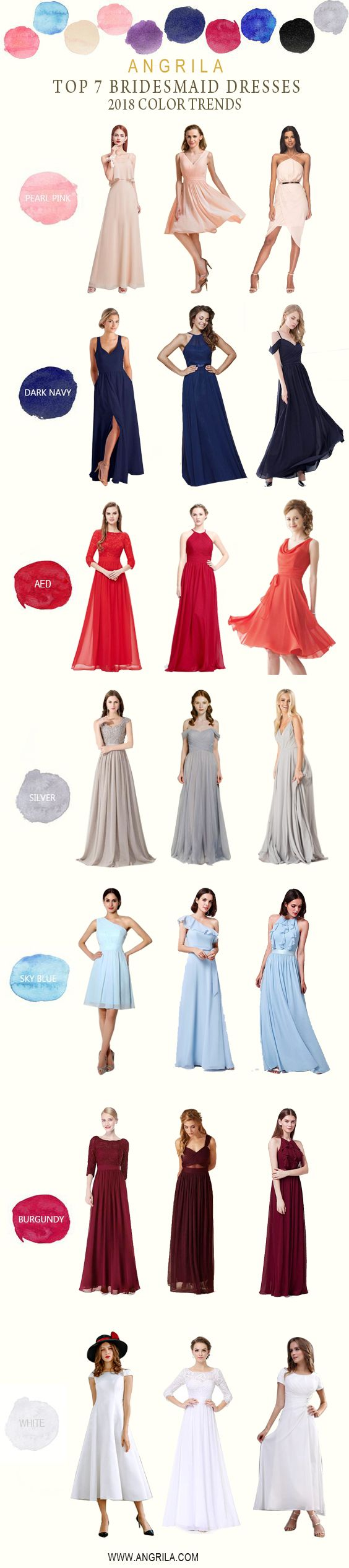 Buy funky bridesmaid dresses at angrila trendy colors pearl