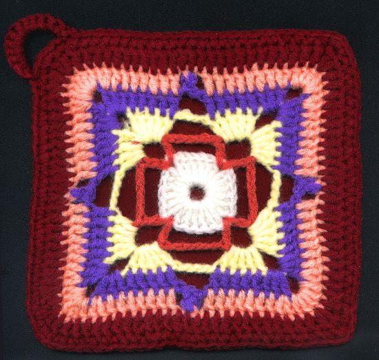 Agarradera Cuadrada en tejido crochet | Agarraderas crochet ...