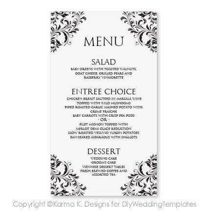 Wedding Menu Card Template By Diyweddingtemplates 8 00