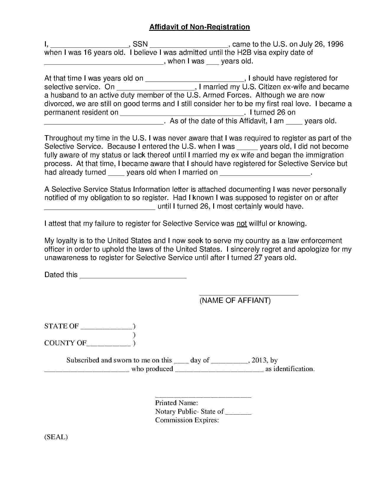 Template Of An Affidavit template affidavit form template free pics ...