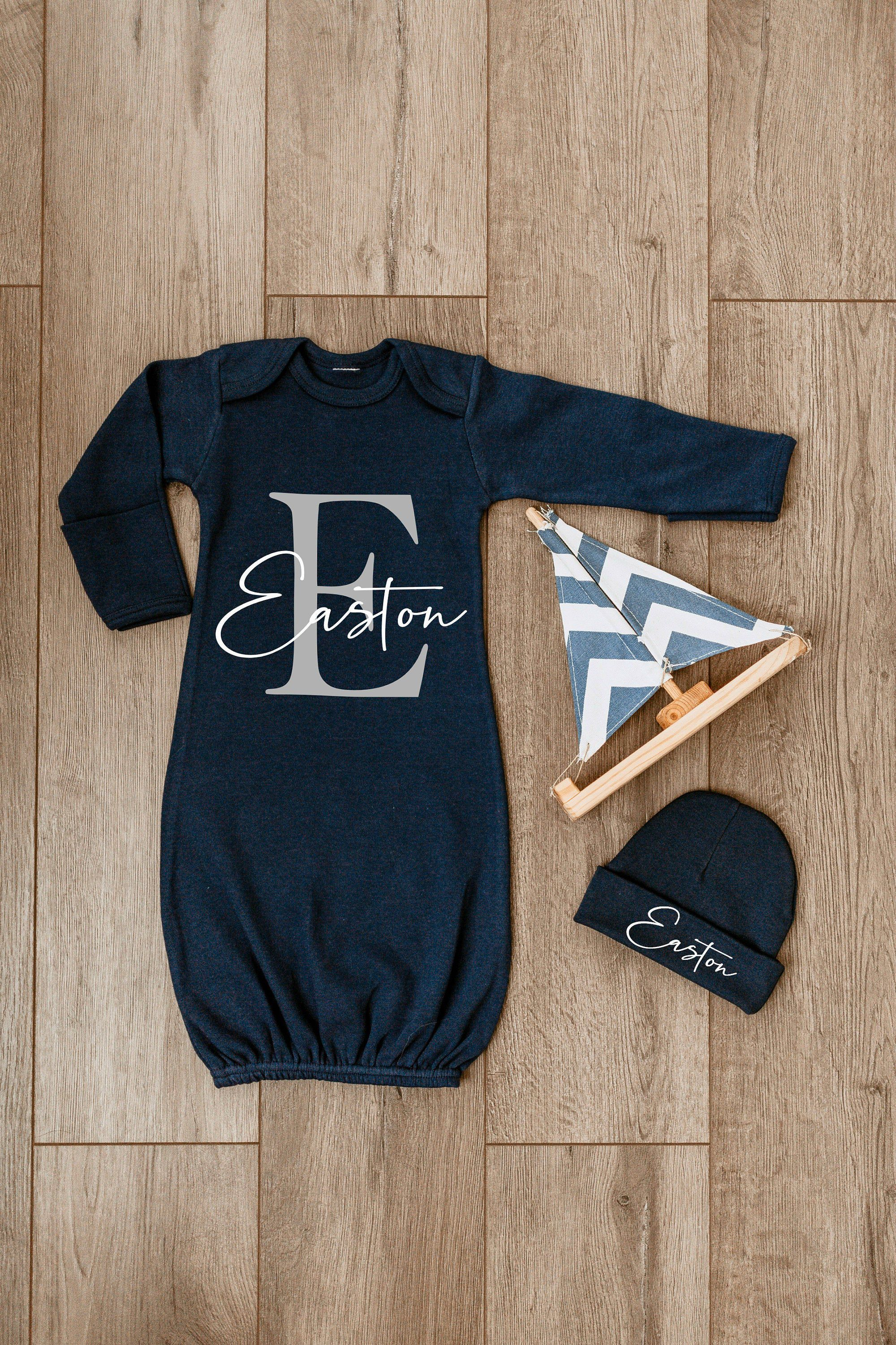 Beanie Shower Gift Set Personalized Monogram Cute Baby Boy Clothes Onesies Hat