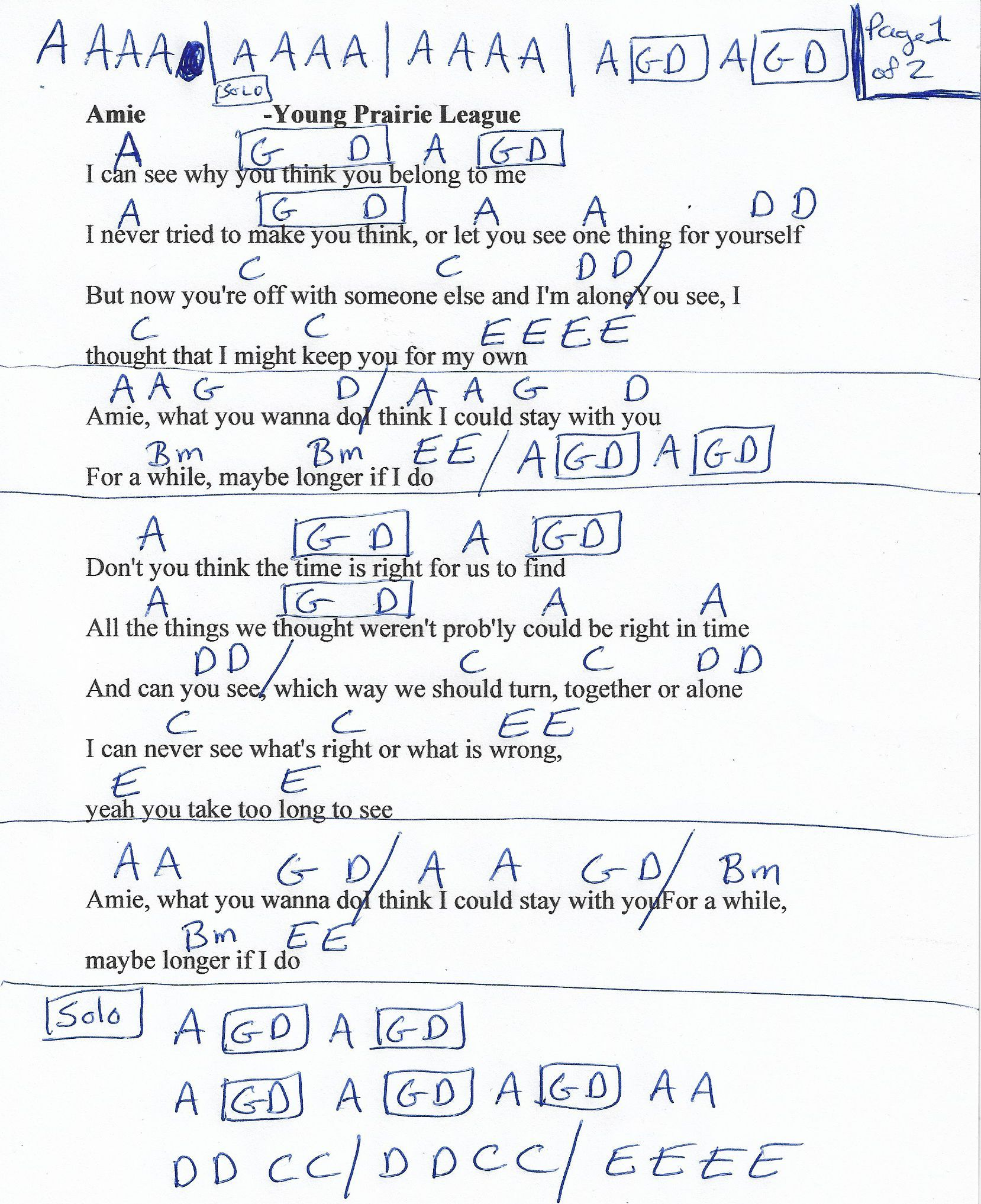 Amie Pure Praire League Guitar Chord Chart Page 1 Of 2 Song