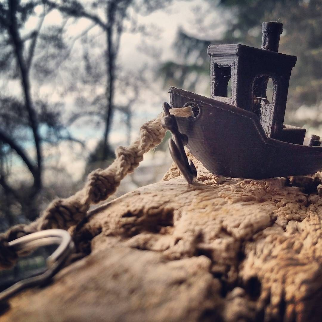 """""""#westcoast #3dprinted #3dbenchy #keychain with #gunmetal #anchor and #hemp rope. I tried to go for a specific look here."""""""