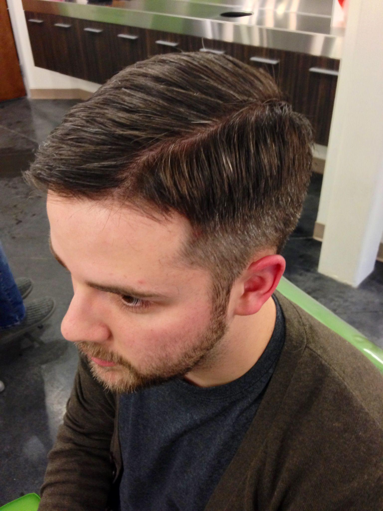 scissor-over-comb fade - left