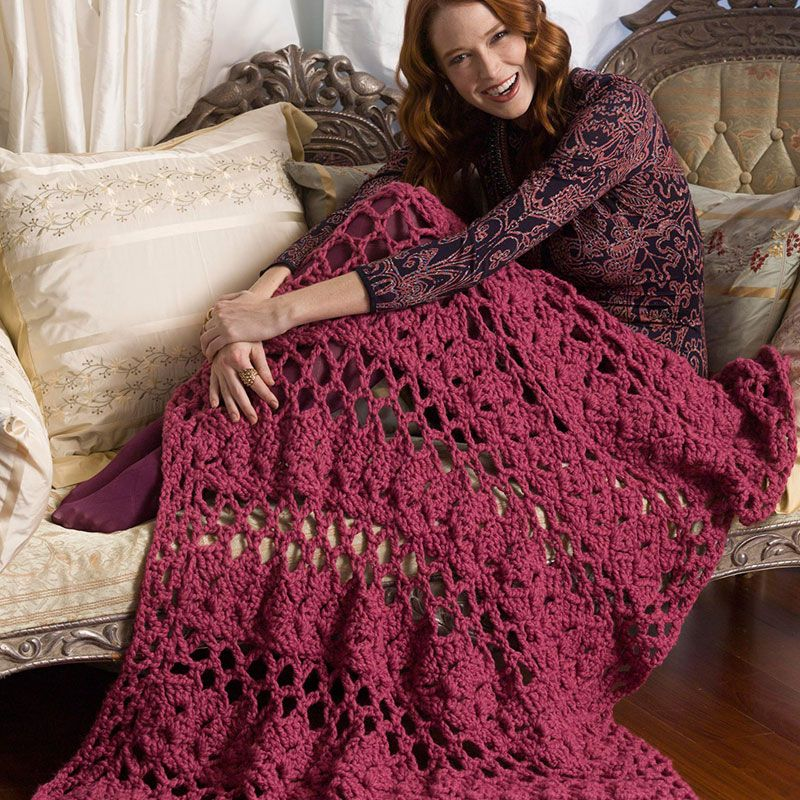 Lion Brand Wool Ease Thick Quick Lacy Eyelets Afghan Crochet