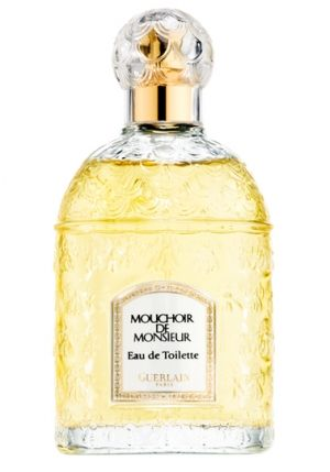 Mouchoir de Monsieur Guerlain. Top notes are lavender, lemon verbena and bergamot; middle notes are tonka bean, patchouli, cinnamon, jasmine, neroli and rose; base notes are iris, amber, vanilla and oakmoss.