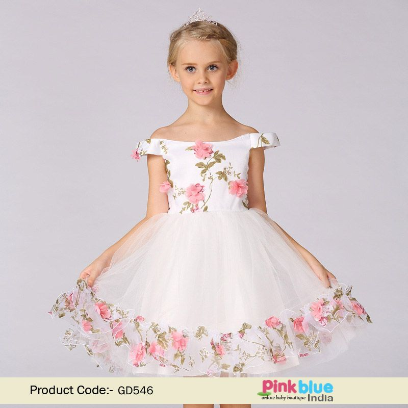 White Floral Off Shoulder Dress For Baby Girl Buy Party Frock