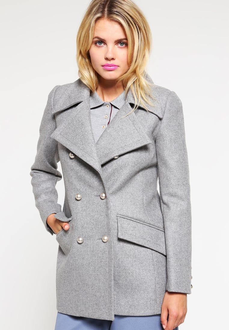 Manteau court femme gris chine