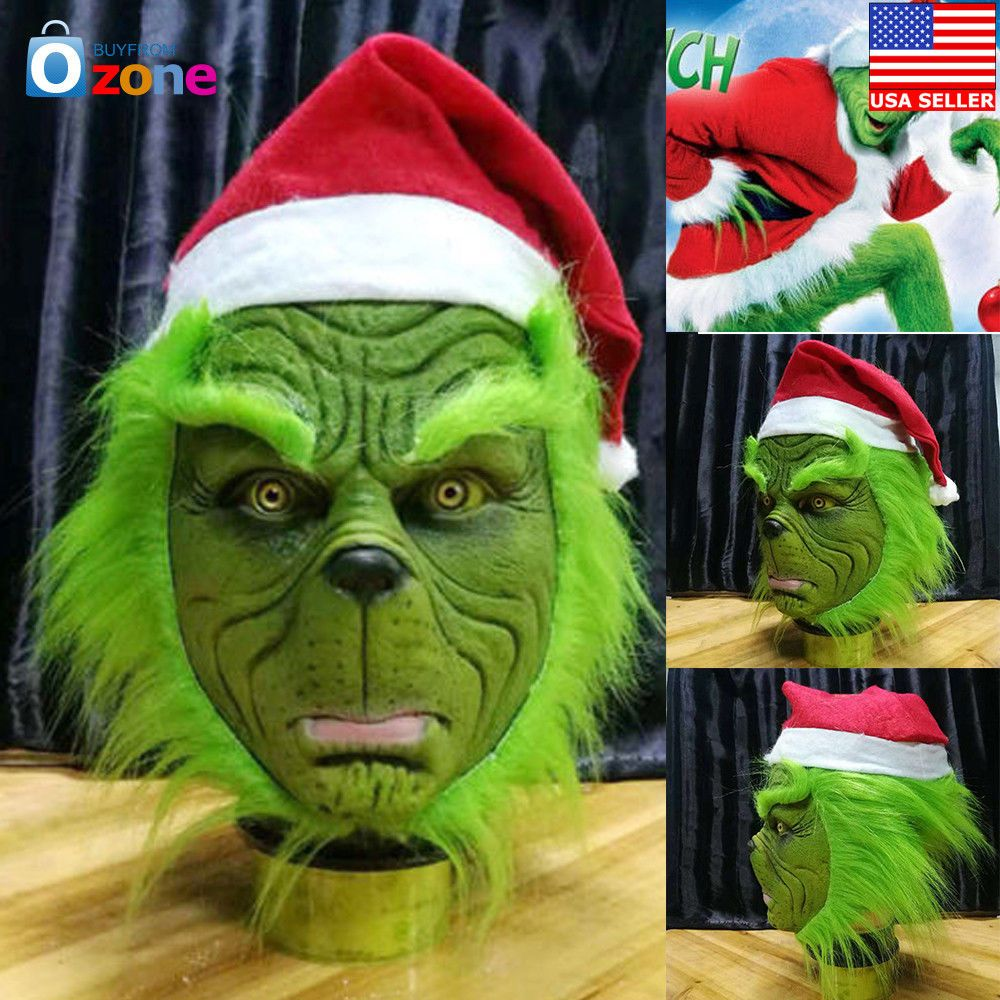 The Grinch Stole Mask With Christmas Hat Party Prop