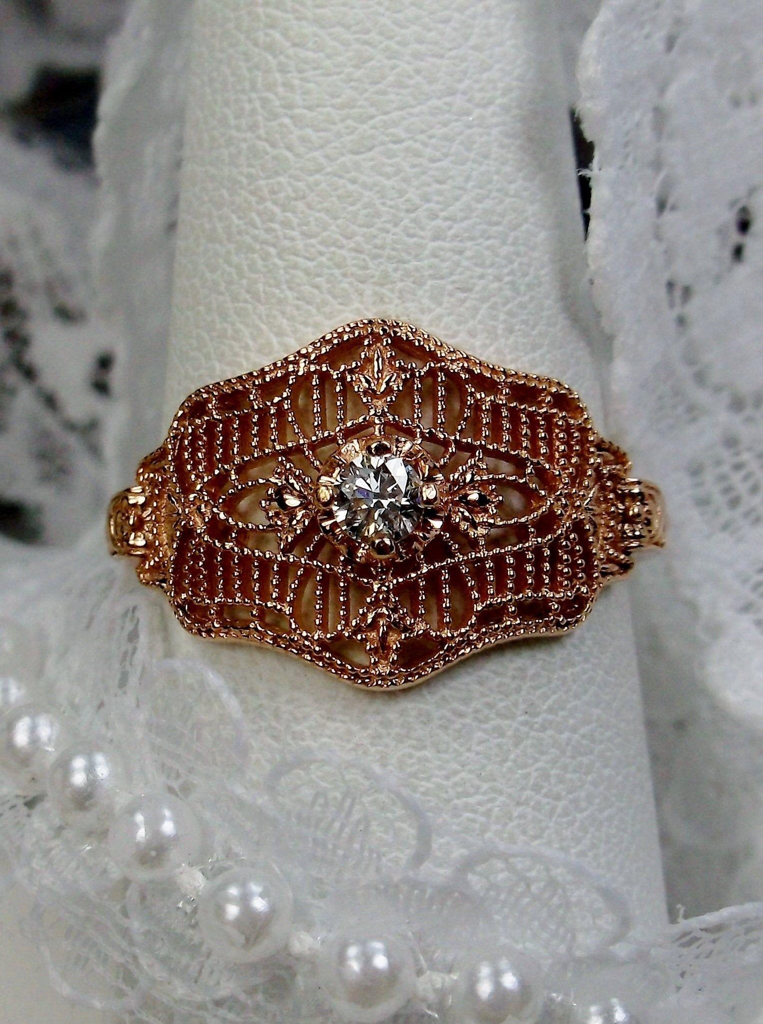 1pt Genuine Diamond Art Deco Victorian Solid 10k Solid Rose Gold Filigree Ring Size 6 5 Design 218 Diamond Art Filigree Ring Gold Antique Filigree Jewelry
