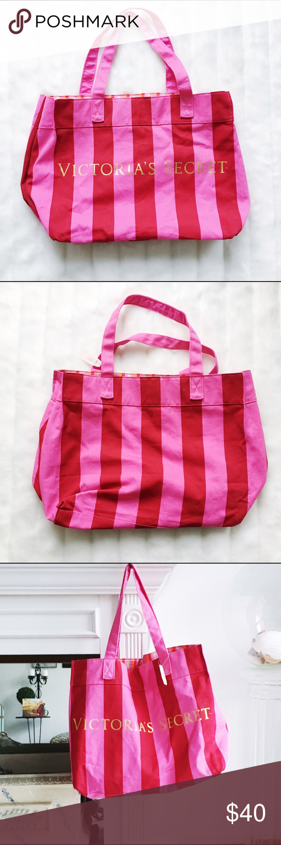 """Victoria's Secret pink & red striped tote bag New with tags Victoria's Secret tote bag. Original price $60.  13"""" high, 20.5"""" long, 8"""" long   Interior lining is red, pink, orange, and gold stripes.  Canvas. Never used.  * Fast shipping * Discounts on bundles Victoria's Secret Bags"""