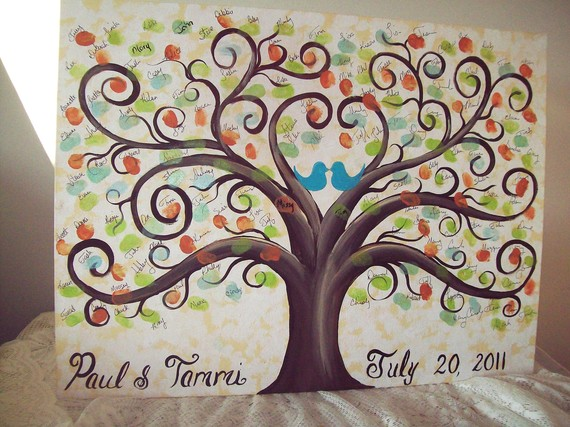 Wedding Guestbook thumbprint tree Canvas.....18 x 24......165- 185 ...