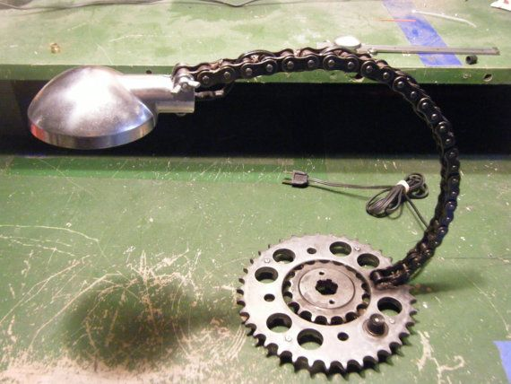 Motorcycle Sprocket and Chain Desk Lamp Industrial by EasTSYcamore, $150.00