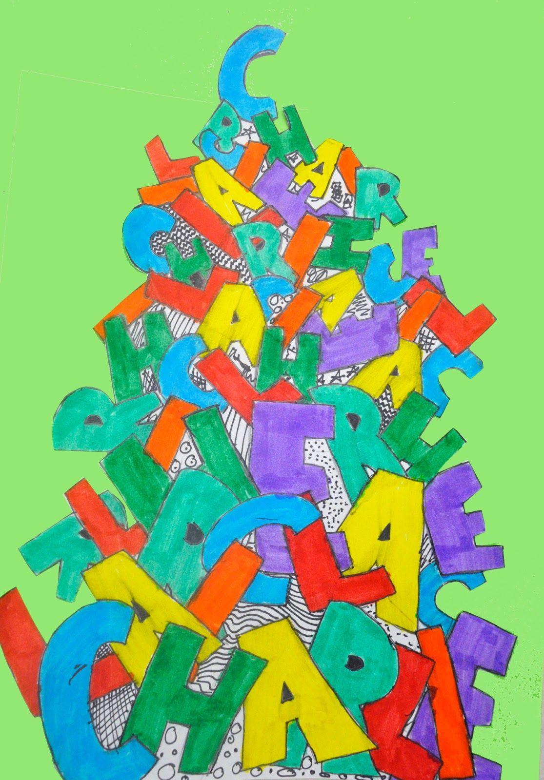 Artisan Des Arts Raining Letters Name Art Grade 5 6 Art Name