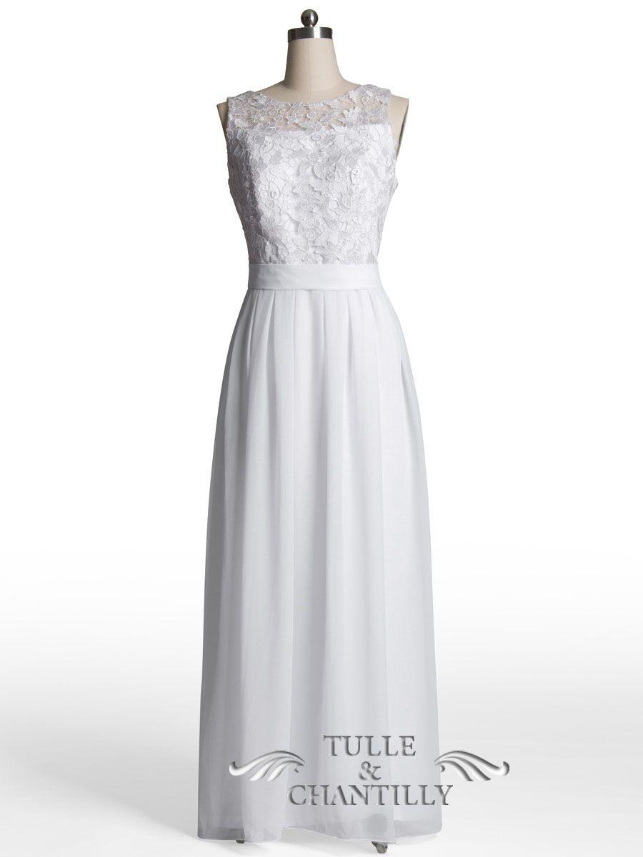 Long Blush Chiffon and Lace Bridesmaid Dress TBQP227 | Simple ...