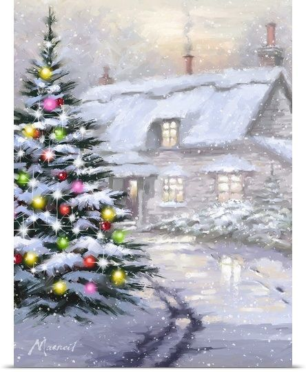 Solid-Faced Canvas Print Wall Art entitled Christmas Cheer I