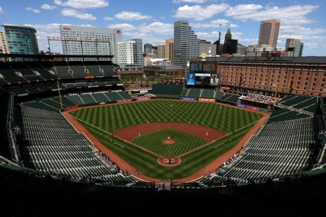 In Photos What A Baltimore Orioles Game Looks Like With No Fans Photo By Patrick Smith Getty Images Baltimore Orioles Stadium Camden Yards Orioles Game