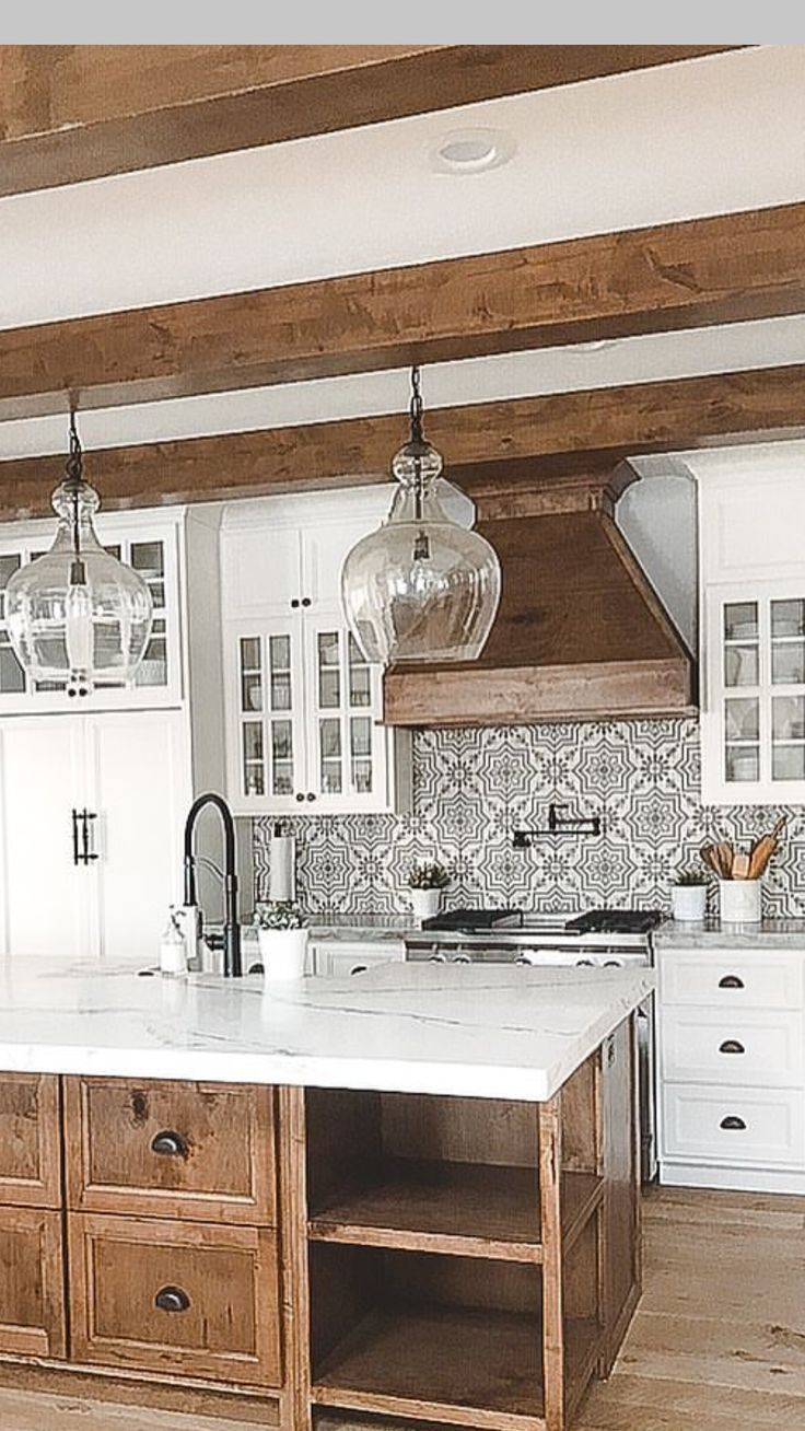 Mix Of White And Wood Fun Back Splash Under Hood Kitchen Reno Kitchen Farmhouse Kitchen Countertops Farmhouse Kitchen Design Kitchen Design Countertops