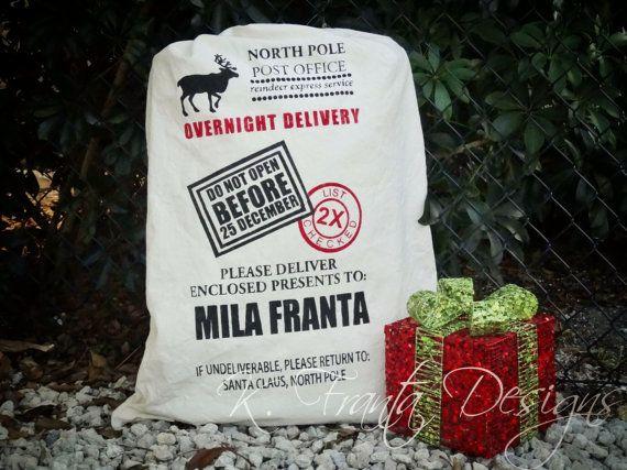 Custom Personalized Santa Sack Christmas by KFrantaDesigns