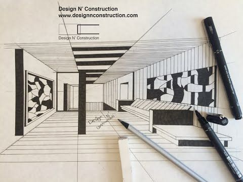 Draw Interior Of Gallery With Pen Rendering Tutorial