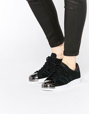 4fae50af674f8e adidas Originals Superstar 80s Black Metal Toe Cap Trainers ...