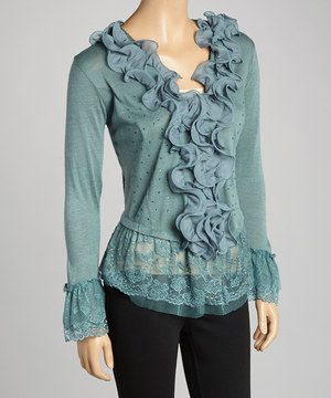 Look what I found on #zulily! Pretty Angel Dark Turquoise Ruffle Linen-Blend Top by Pretty Angel #zulilyfinds