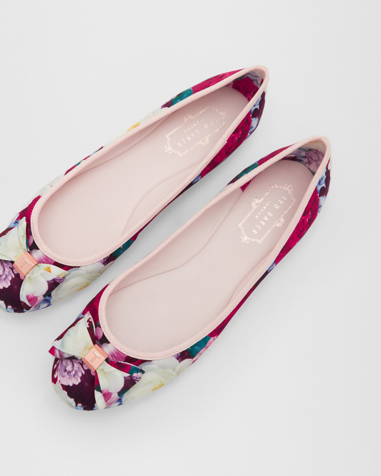 097e49dfb9290 Shop women's British fashion from luxury dresses, jackets, tops, bags and  more. PRINTED FLAT BALLET PUMP - Deep Pink ...