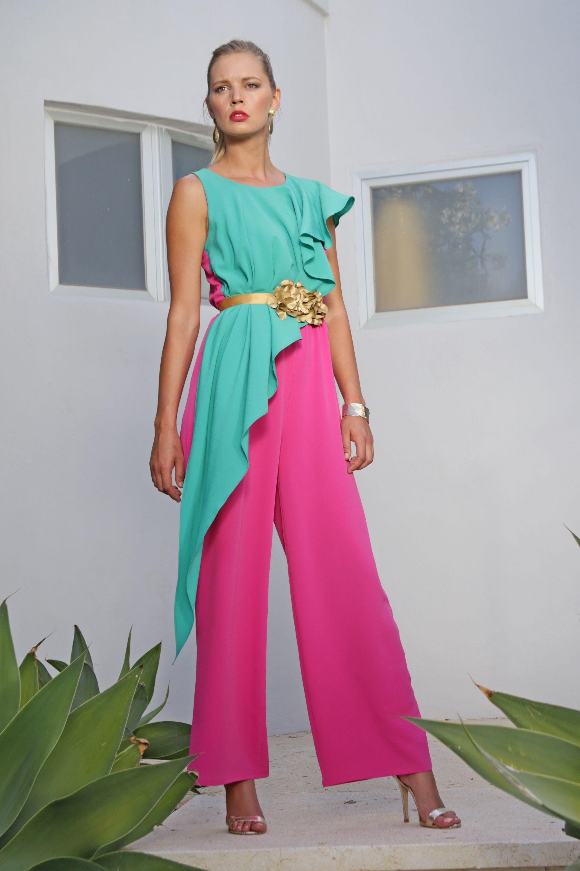Mono bicolor de fiesta largo para invitadas de boda | Bicolor, Mono ...