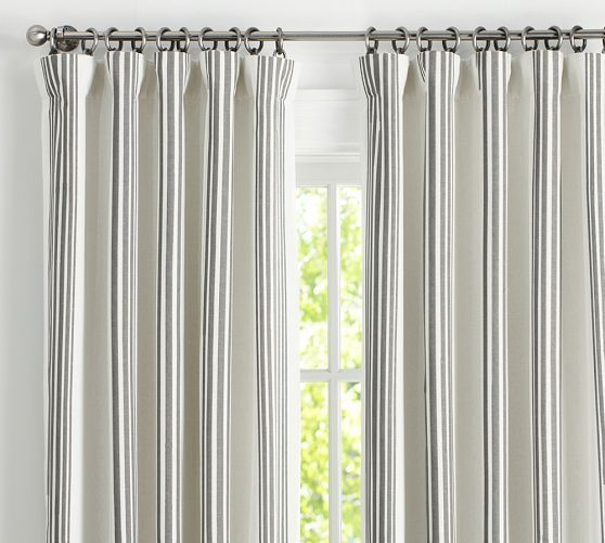 Riviera Striped Linen Cotton Rod Pocket Blackout Curtain Charcoal Drapes Curtains Striped Curtains Drapes And Blinds