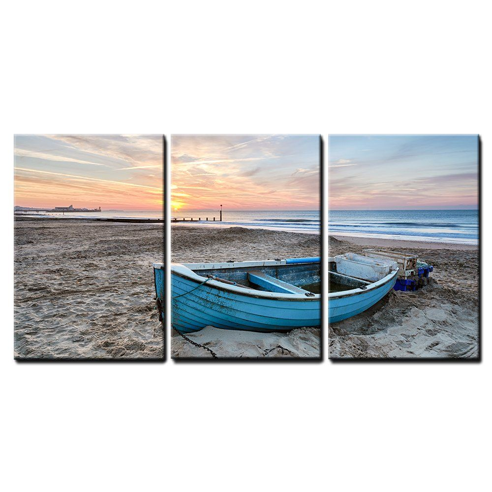Wall26 3 Piece Canvas Wall Art Turquoise Blue Fishing Boat At