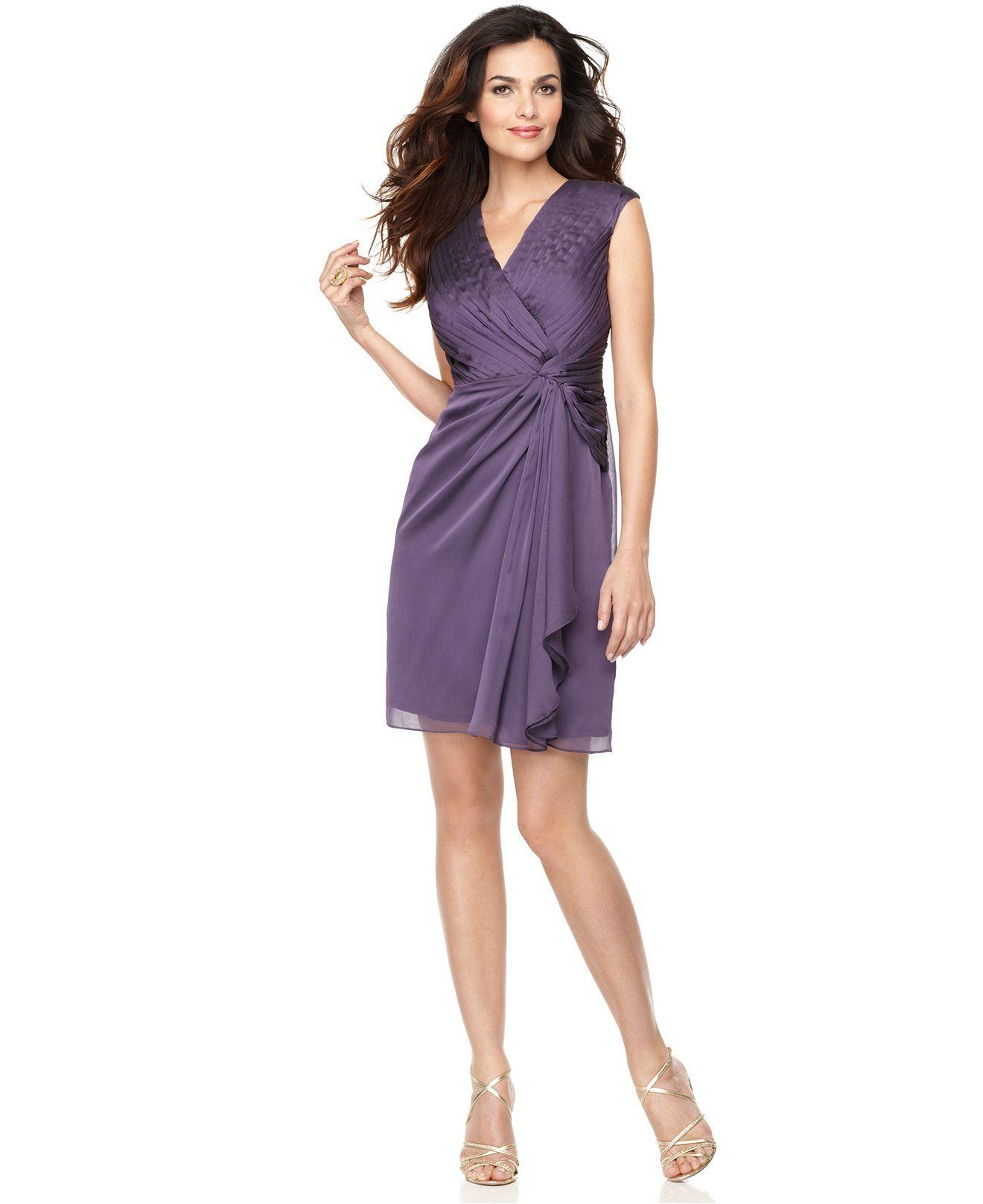 London Times Petite Dress Sleeveless Pleated Draped Ruffle Twist Plum Macys 57 London Times Dress Twisted Dress Petite Dresses