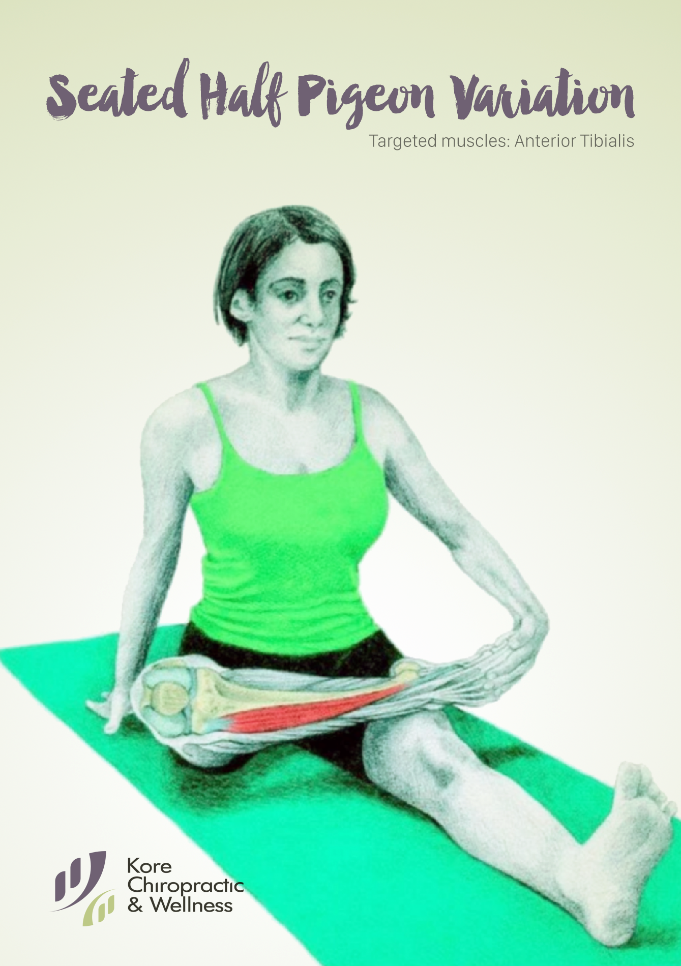 Seated Half Pigeon Variation  Targeted muscles: Anterior Tibialis.  Start in a seated position, with feet in front of you. Place one hand behind you, and rotate your hip placing one foot above the knee. Slowly lean forward, increasing the #stretch on your hip, and begin the movement by hinging at the hips.  #stretches #stretching #rehabilitation
