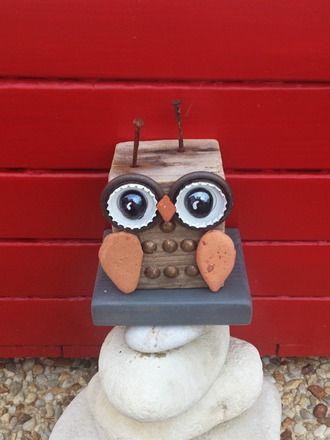 La petite chouette du bois flotté Bois Hibou Fer Rouille Récup\u0027art - peinture bois et fer