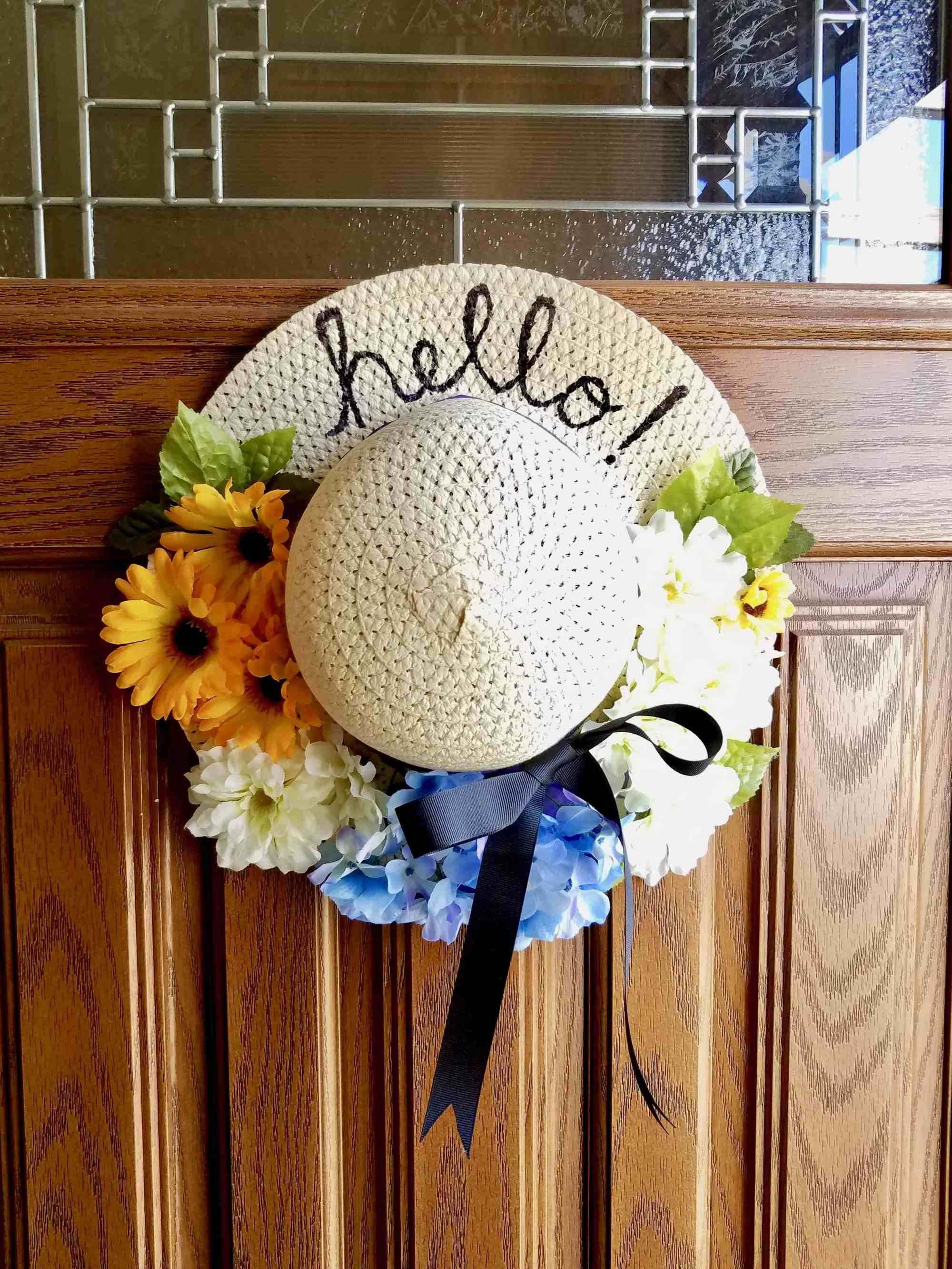 DIY Dollar Tree Sun Hat Wreath | We Three Shanes