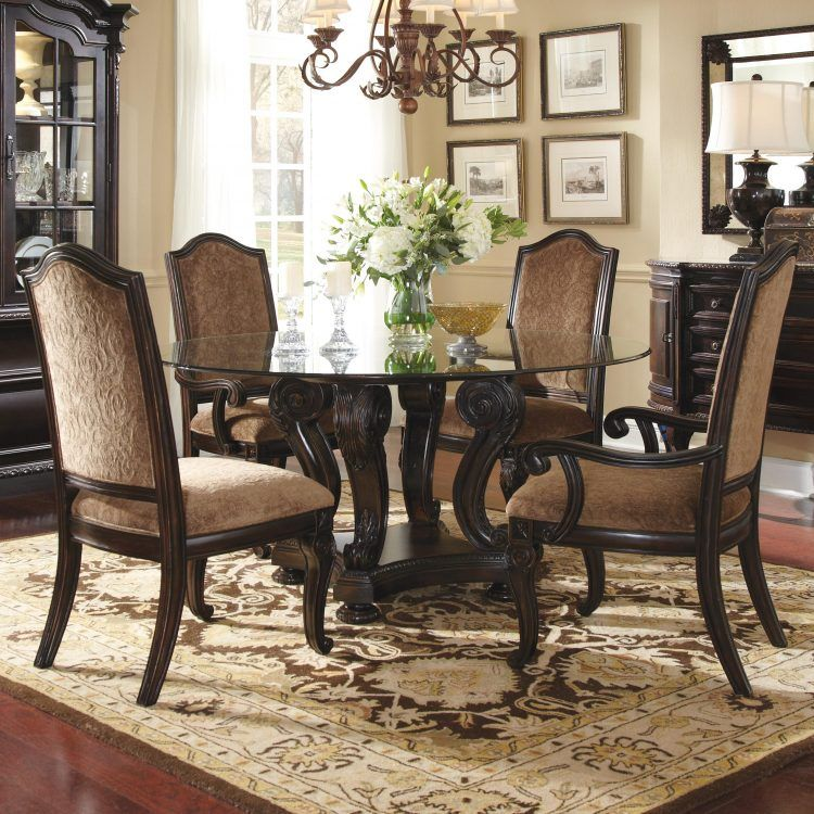 Round Table 4 Chairs Rug Flower Lamp Buffet Buffet Large Dining