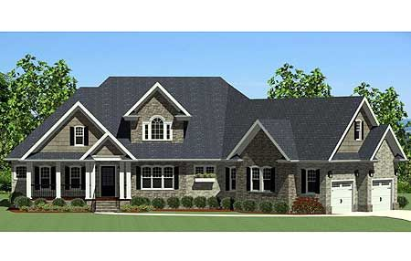 Plan 46224la handsome craftsman home with angled garage for Single story house plans with bonus room above garage