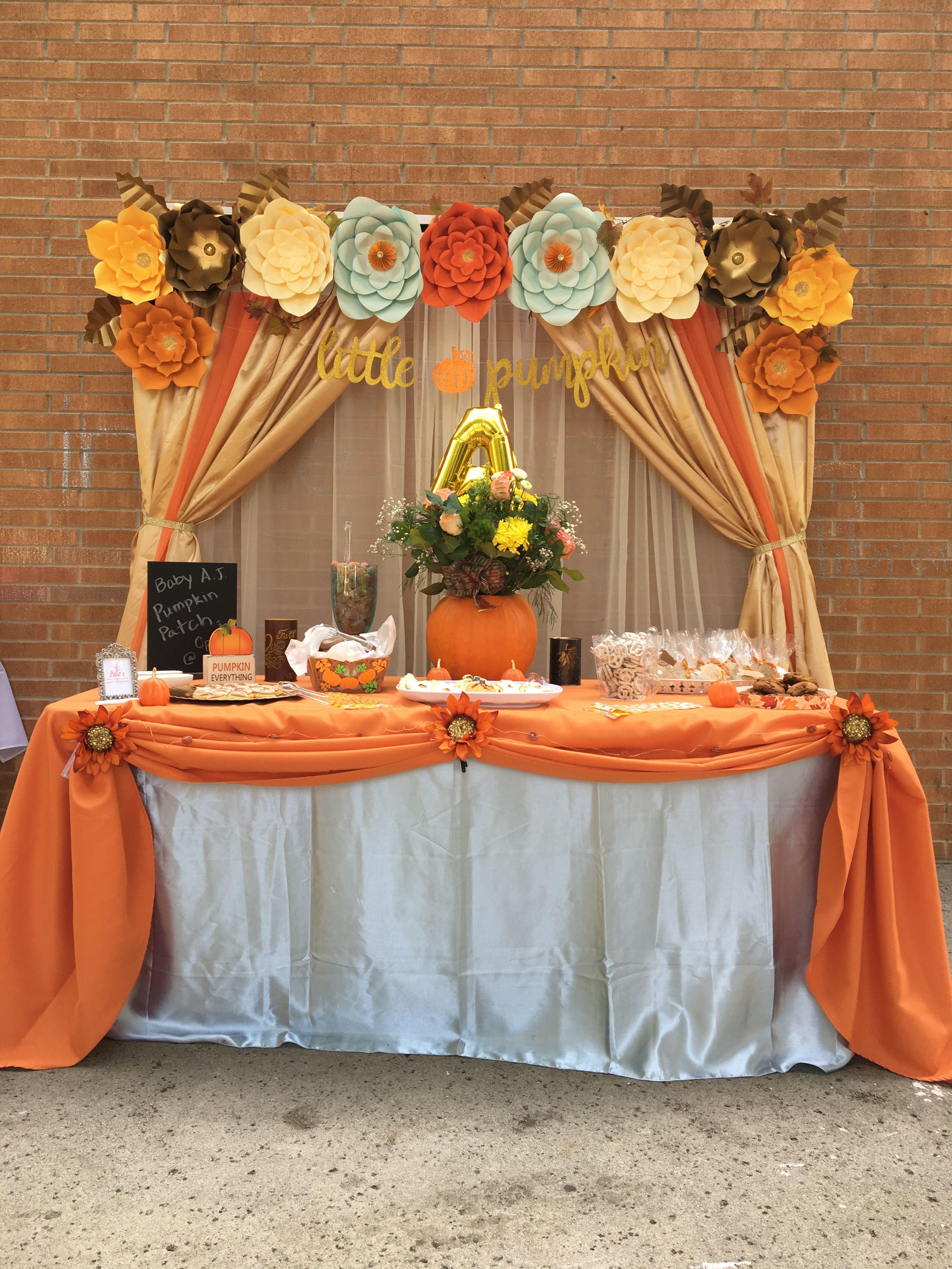 Little Pumpkin Theme Babyshower Backdrop For Dessert Table Lalaspartycreations5 Ig Baby Shower Pumpkin Baby Shower Dessert Table Pumpkin Theme Baby Shower